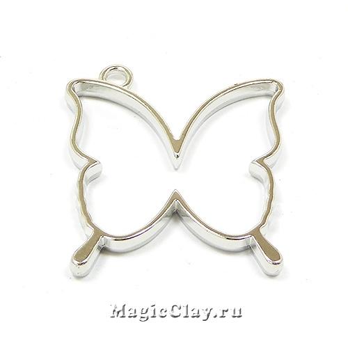 Рамка для кулона Бабочка 35х32мм, цвет стальной, 1шт