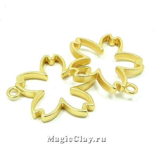 Рамка для кулона Цветок 31х30мм, цвет золото матовое, 1шт