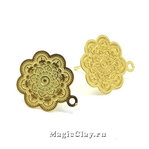 Швензы гвоздики Цветок, 17х15мм, сталь золото, 1пара
