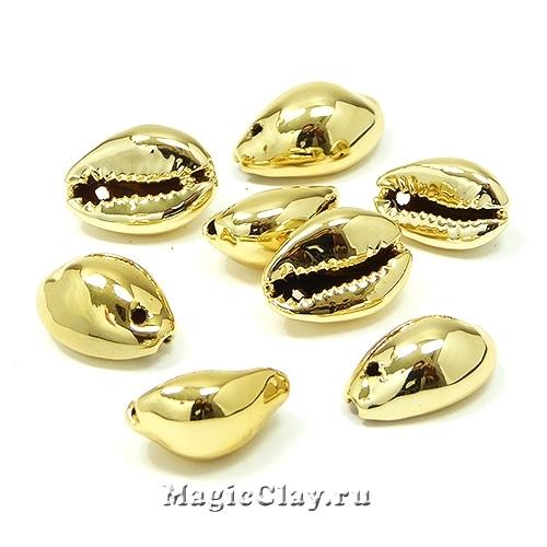 Подвеска Ракушка Каури 14-16х8-9мм, цвет золото, 5шт