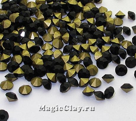 Стразы конусные для бижутерии SS12, цвет Черный