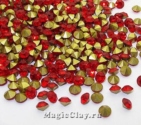 Стразы конусные для бижутерии SS12, цвет Красный