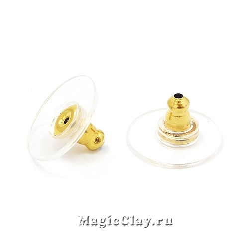 Заглушки для серег Круг 12х6мм, сталь золото, 10шт