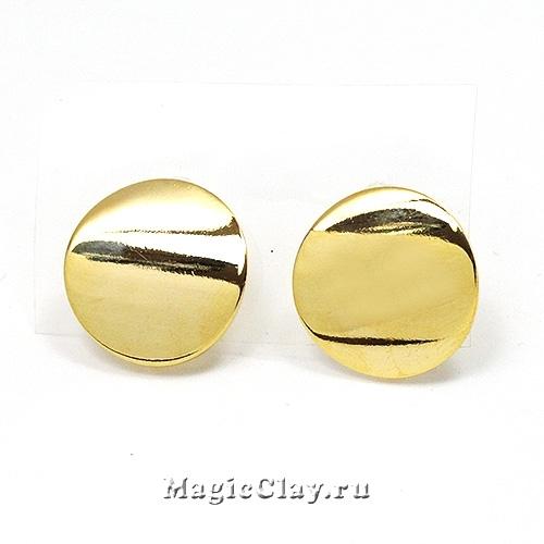 Швензы гвоздики Круг Гладкий 18мм, Real Gold, 1пара