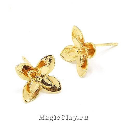 Швензы гвоздики Лилия 11х11мм, Real Gold, 1пара