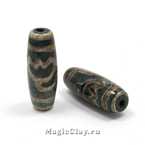 Бусины Дзи агат Лотос, зеленый 30х10мм, 1шт