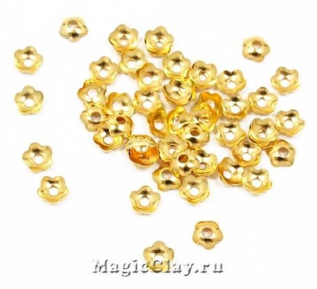 Шапочка для бусины Цветочек 4мм, цвет золото, 100шт