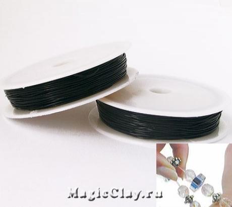 Эластичная нить 1мм, цвет черный