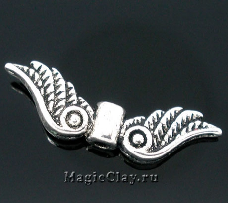 Бусина Крылья 23х7мм, цвет серебро, 5шт
