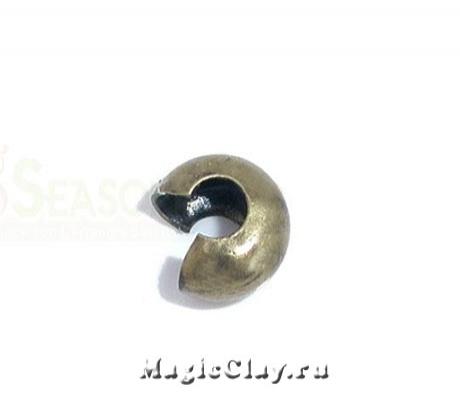 Зажимные маскирующие бусины, 4мм, цвет бронза, 1уп (~30шт)