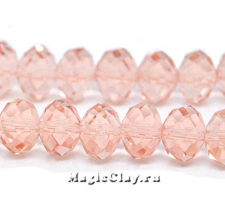 Бусины рондели Розовые Лепестки 10х7мм, 20шт
