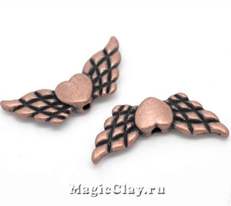 Бусина металлическая Крылья Амура 22х9мм, цвет медь, 5шт