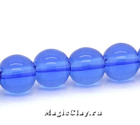 Бусины Прозрачный Морской Синий 8мм, 1нить (~40шт)