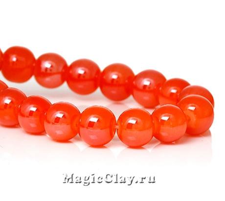 Бусины Глазурь Кирпично-Рыжий 8мм, 1уп (~50шт)