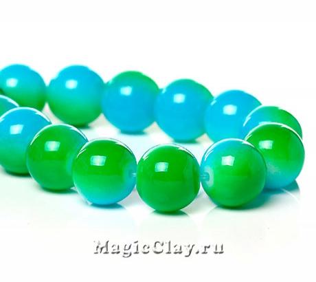Бусины Дуэт Голубой и Зелёный 10мм, 1нить (~40шт)