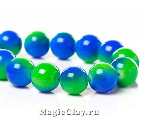 Бусины Дуэт Синий и Зелёный 10мм, 1нить (~40шт)