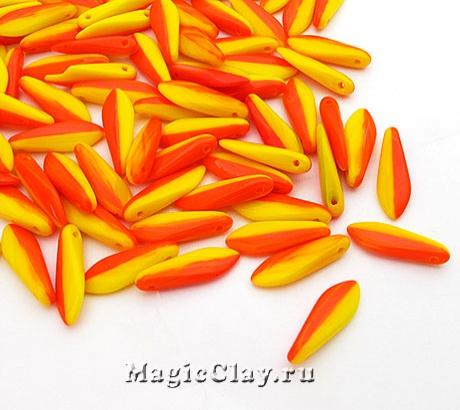 Бусины Dagger Дуэт 1отв. 16мм, Желтый и Оранжевый, 70шт