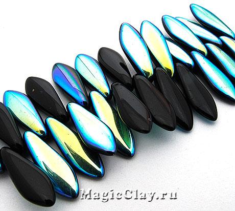 Бусины Dagger 1отв. 16мм, Jet AB Color, 1нить (~25шт)