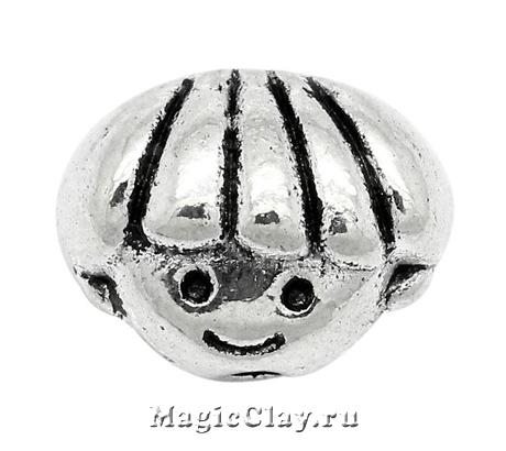 Бусина Девочка 9х12мм, цвет серебро, 1шт