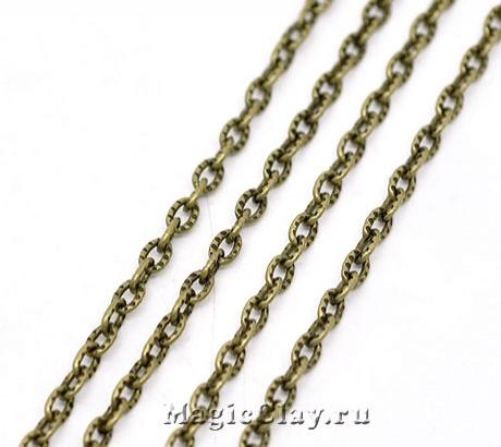 Цепочка Якорная, звенья 4х2,5мм текстура, цвет бронза, 1м