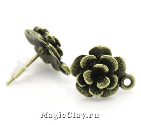 Швензы гвоздики Цветок 15х14мм, цвет бронза, 1пара
