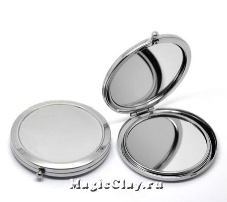 Зеркало с кнопочным замком 70мм, цвет серебро, 1шт