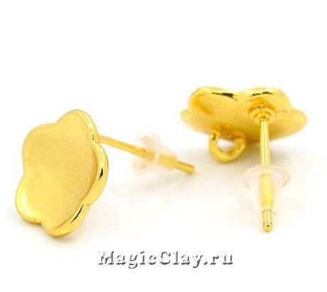 Швензы гвоздики Фиалка 14х11мм, цвет золото, 1пара