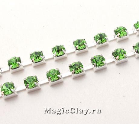 Цепочка со стразами 3,5мм Зеленый, цвет серебро, 1м