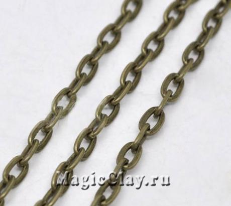 Цепочка Якорная, звенья 7x4мм, цвет бронза, 1м