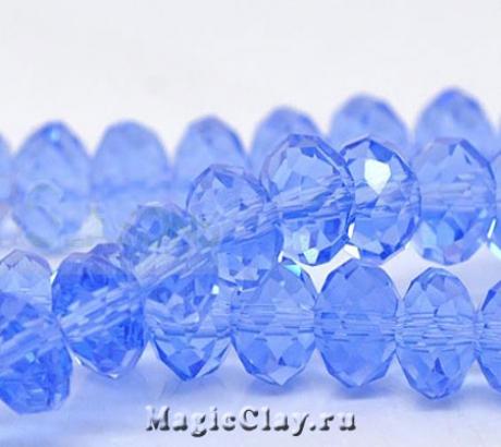 Бусины рондели Небесно-голубой 8х6мм, 1нить (~65шт)