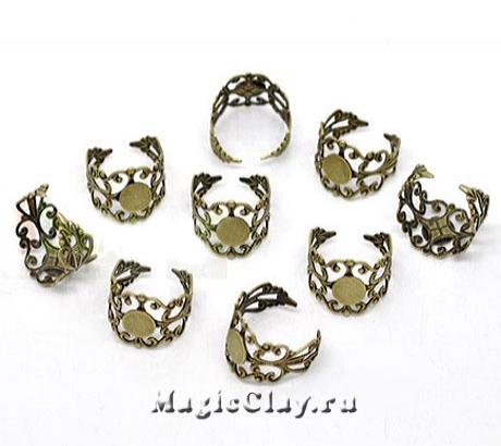 Основа для кольца Филигрань, цвет античная бронза, 1шт