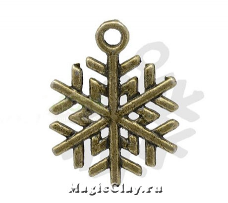 Подвеска Winter Снежинка 19х17мм, цвет бронза, 1шт