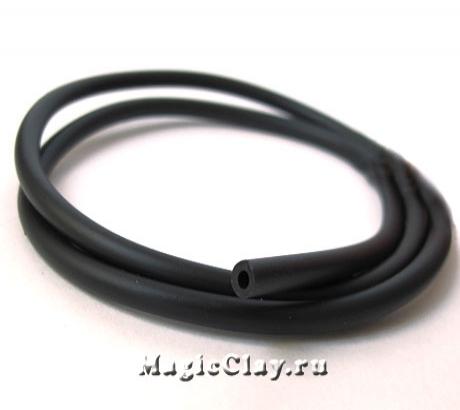 Шнур каучуковый 4мм с отверстием Черный, 2 метра