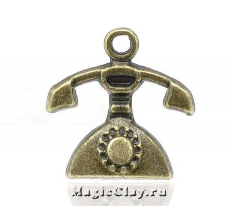 Подвеска Телефон 16х15мм, цвет античная бронза, 1шт