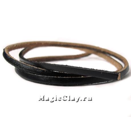 Шнур кожаный плоский 3мм, цвет Черный, 1 метр