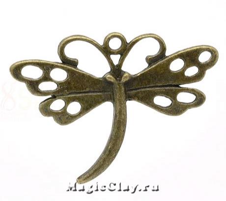 Подвеска Стрекоза Ажур 36х29мм, цвет античная бронза, 1шт