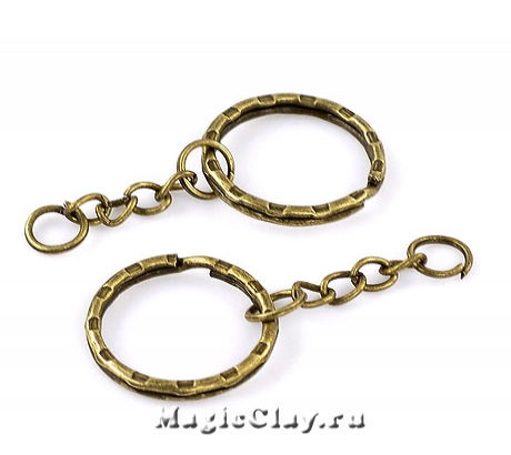 Основа для брелка с цепочкой, цвет античная бронза, 1шт