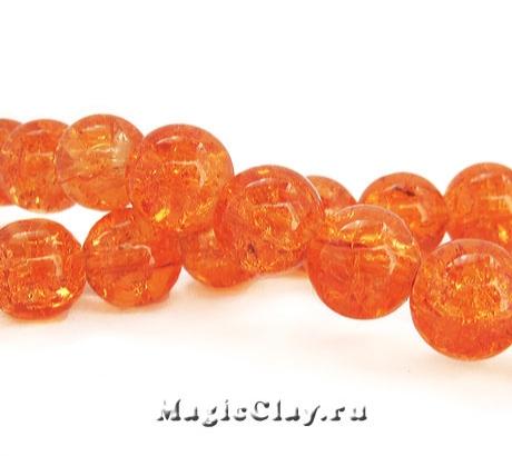 Бусины кракле Оранжевый Мандарин 10мм, 25шт