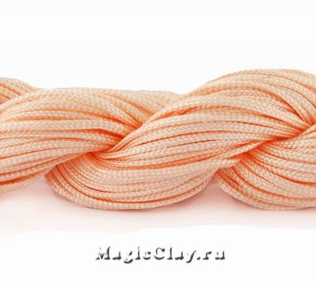 Шнур нейлоновый для Шамбалы 1мм Персиковый, 1 моток (~26метров)