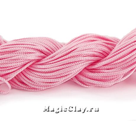 Шнур нейлоновый для Шамбалы 1мм Розовый, 1 моток (~26метров)