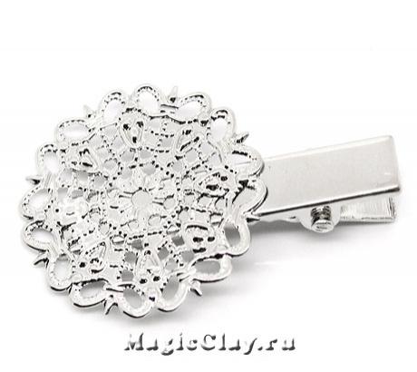 Основа для заколки Пион 40х25мм, цвет серебро, 1шт