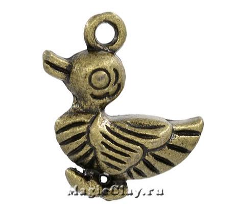 Подвеска Уточка 17х16мм, цвет античная бронза, 1шт