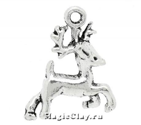 Подвеска Winter Оленёнок 21х17мм, цвет серебро, 1шт
