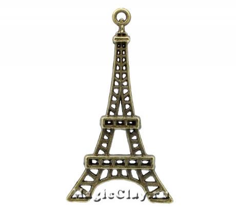 Подвеска Париж 43х24мм, цвет античная бронза, 1шт