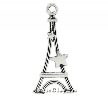 Подвеска Звезда Парижа 29х13мм, цвет серебро, 1шт