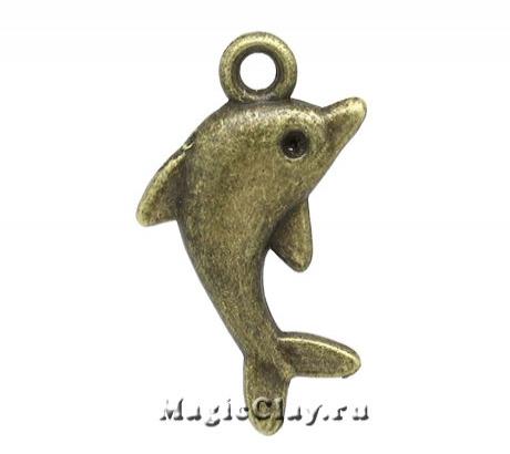 Подвеска Дельфин 23х14мм, цвет античная бронза, 1шт