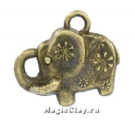 Подвеска Слоник Полянка 13х16мм, цвет античная бронза, 1шт