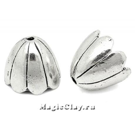 Шапочка для бусины Ландыши 17х15мм, цвет серебро, 1шт