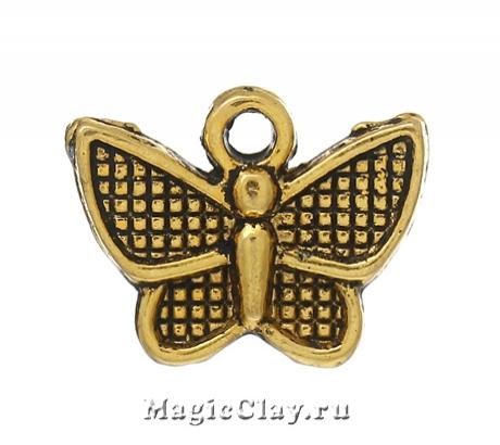 Подвеска Бабочка Ситцевая 13х10мм, цвет золото, 5шт