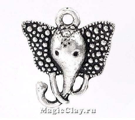 Подвеска Слон Цирковой 16х14мм, цвет серебро, 1шт